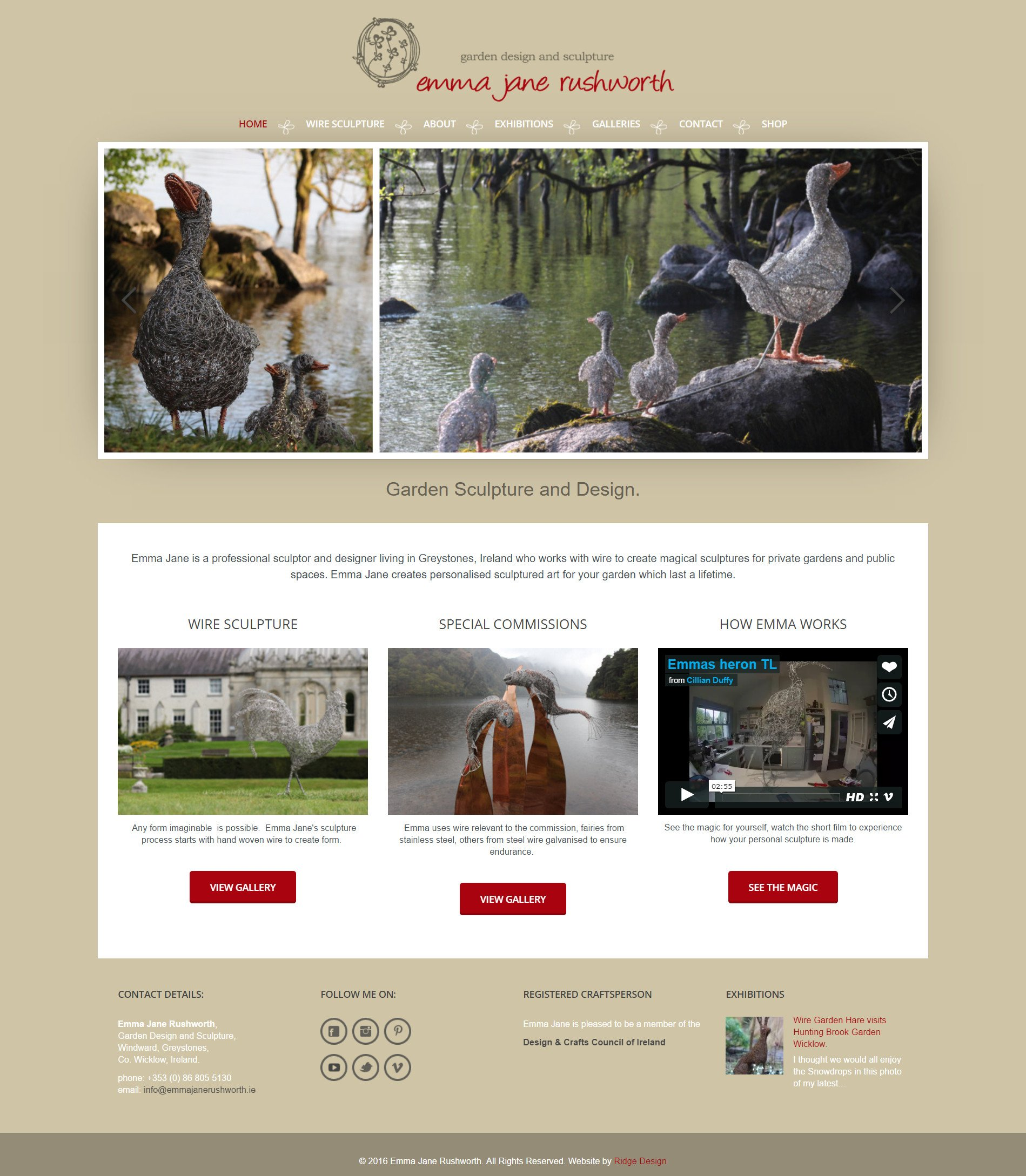 website designed for emma jane r ushworth visual of home page