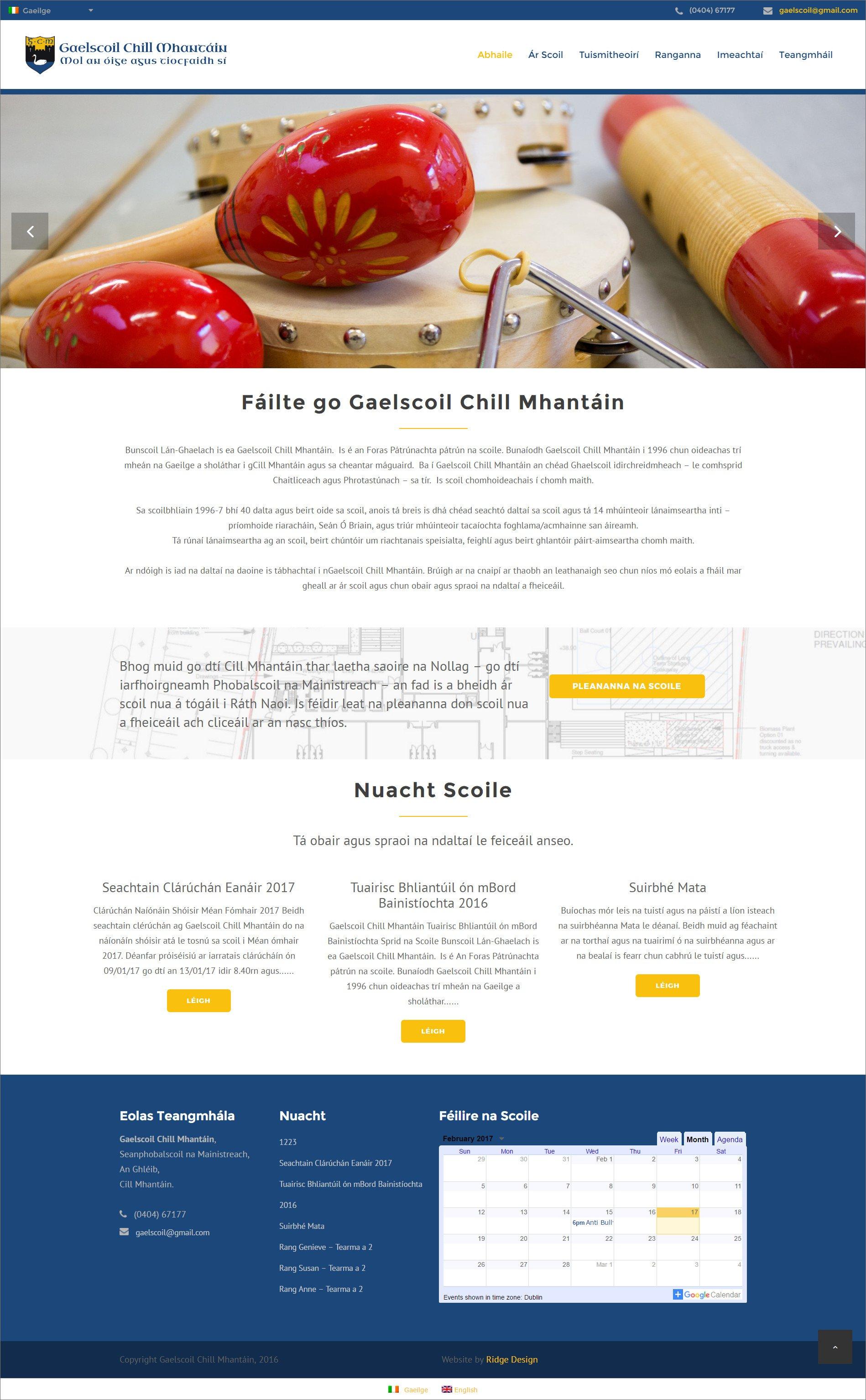 Ridge Design-Website-Design-Gaelscoil-Home