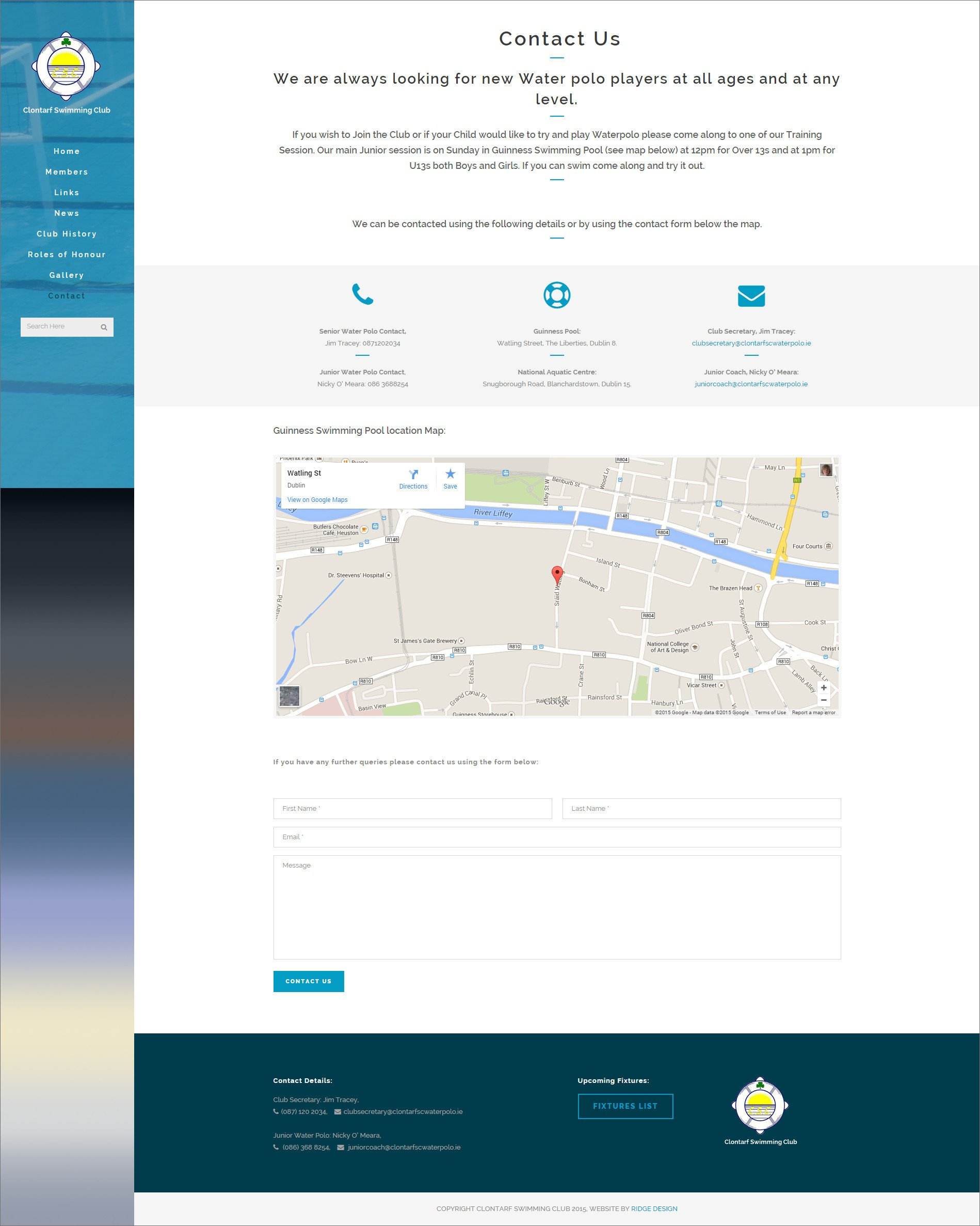 Website design for Clontarf Waterpolo Club designed by Ridge Design Contact page visual