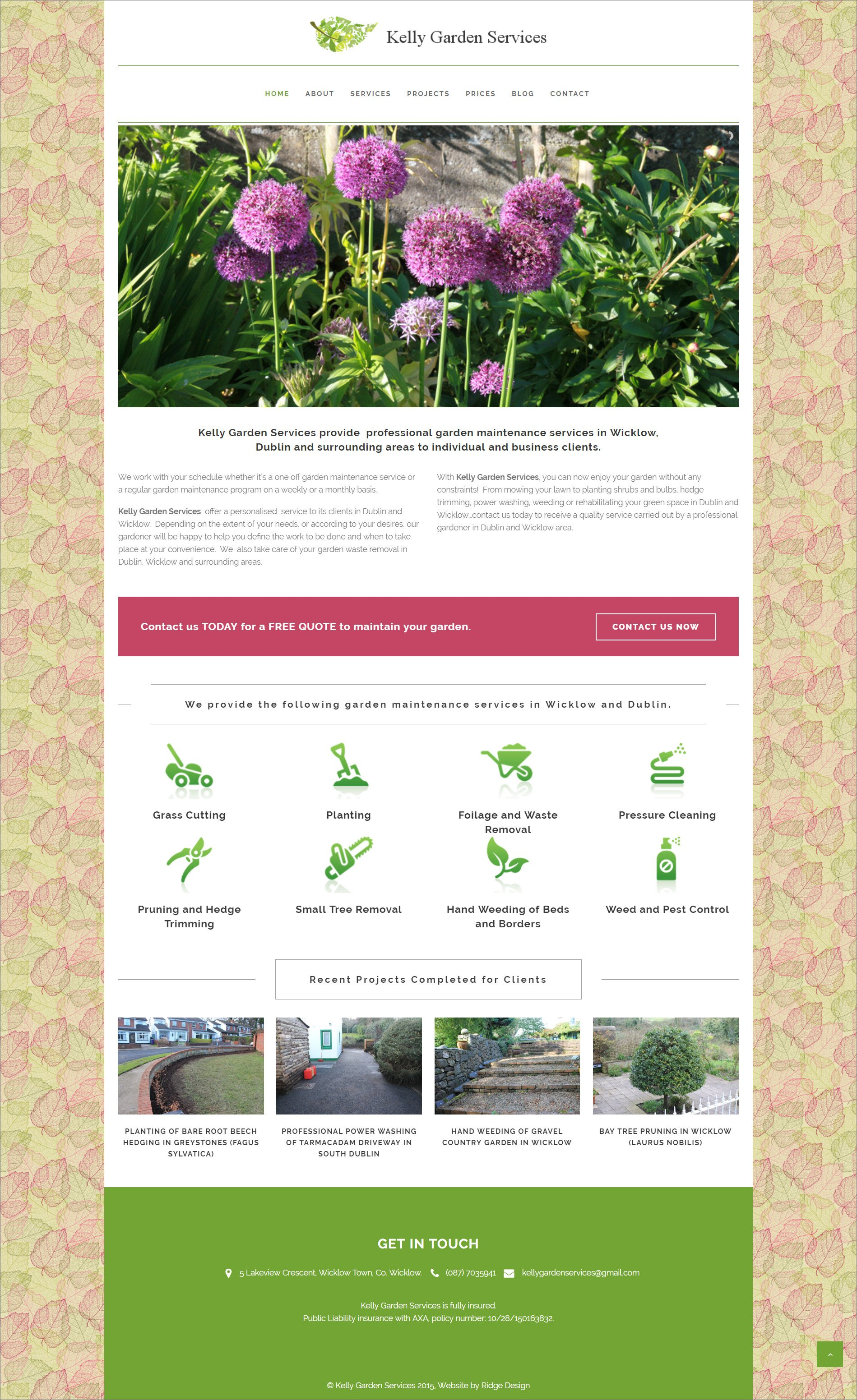 Kelly Gardening Services website designed by Ridge Design visual of home page