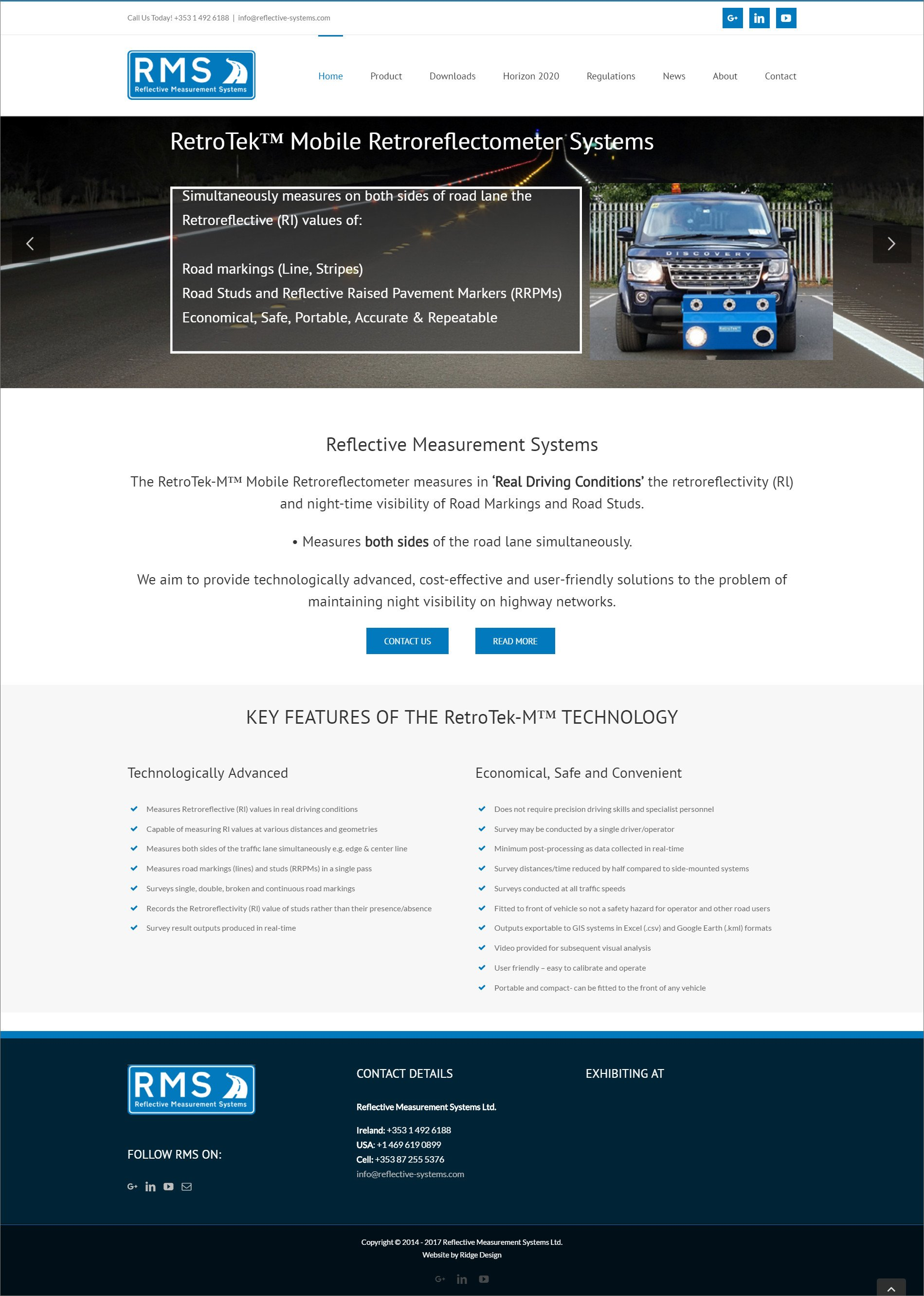 Website design for RMS design by Ridge Design home page visual