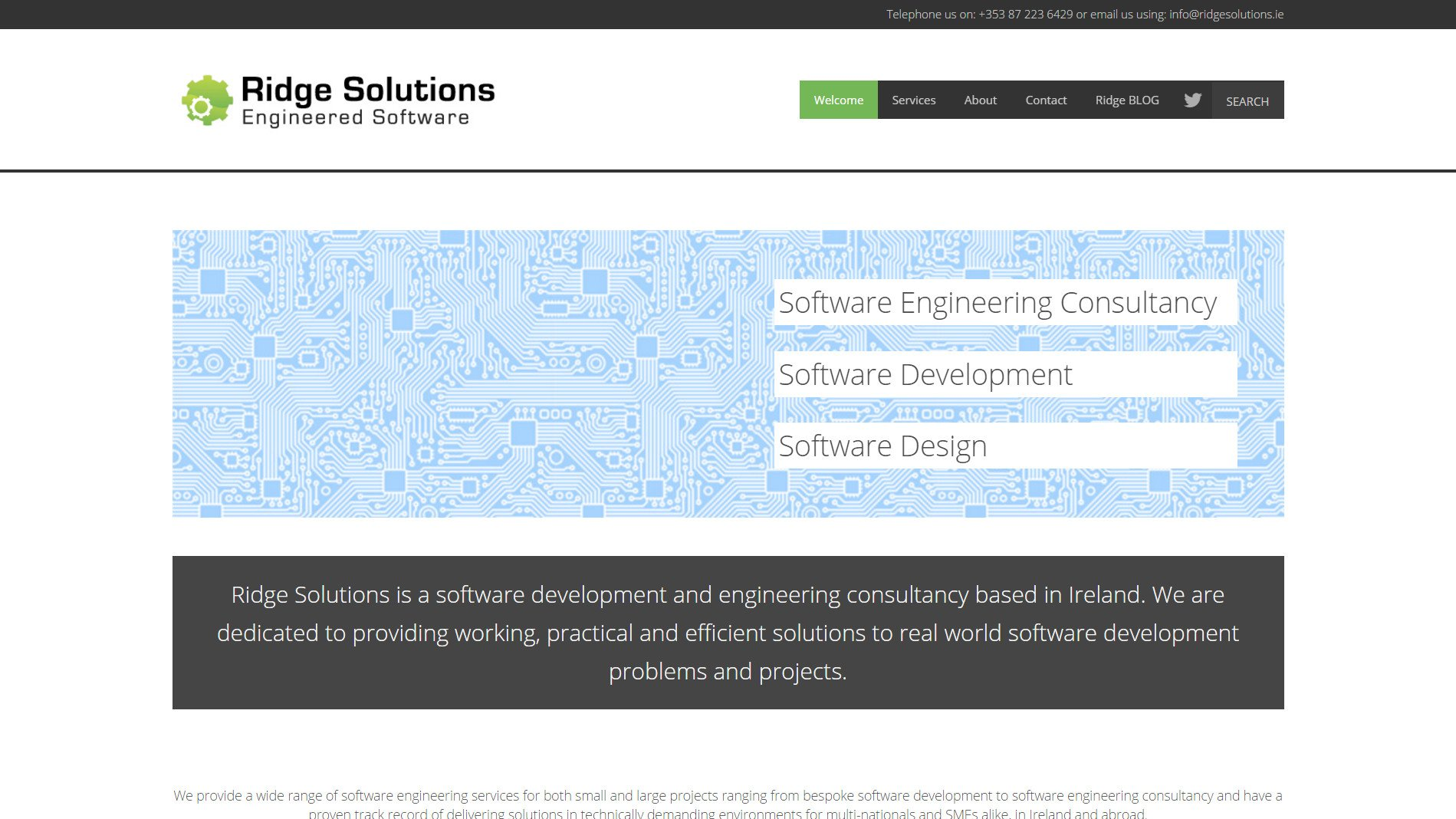 Website design for Ridge Solutions designed by Ridge Design Home Page visual used as featured image