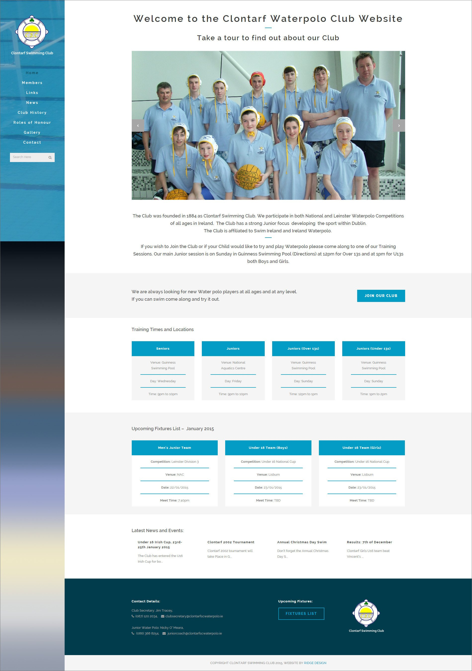 Website design for Clontarf Waterpolo Club designed by Ridge Design Home page visual