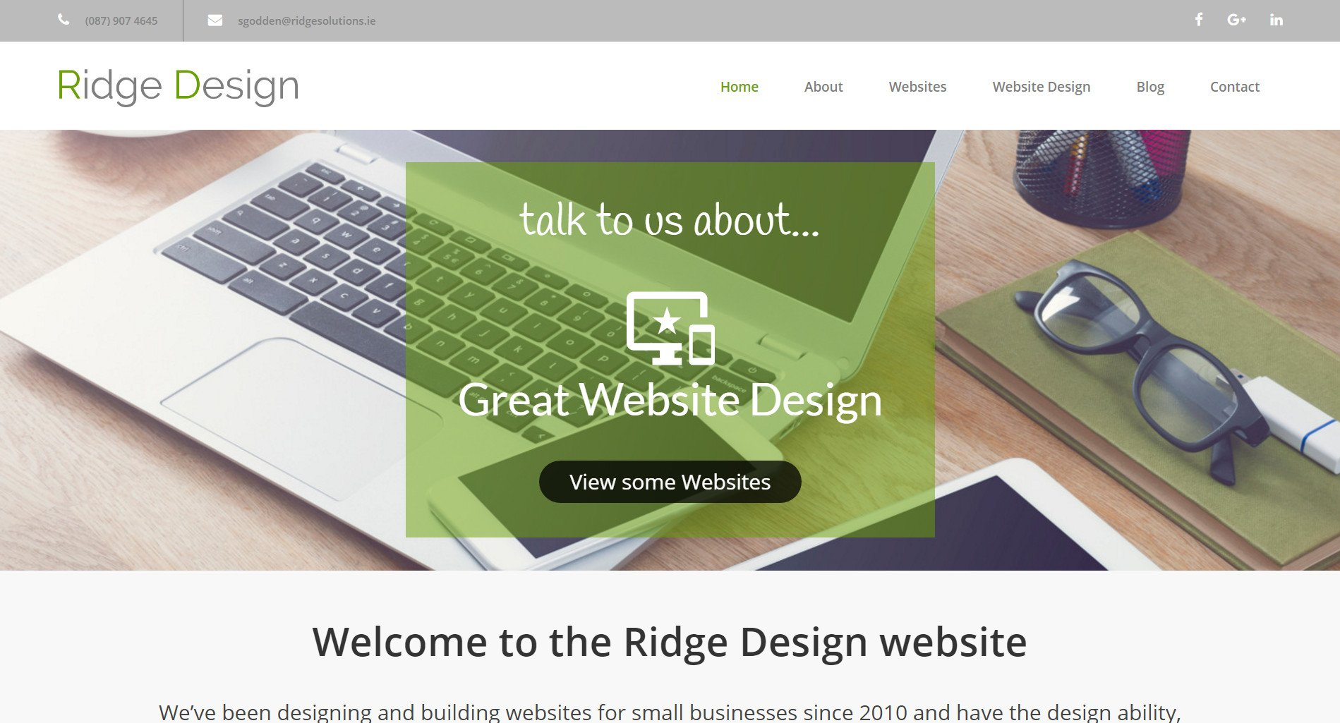 New website for Ridge Design - Featured Image showing Home Page