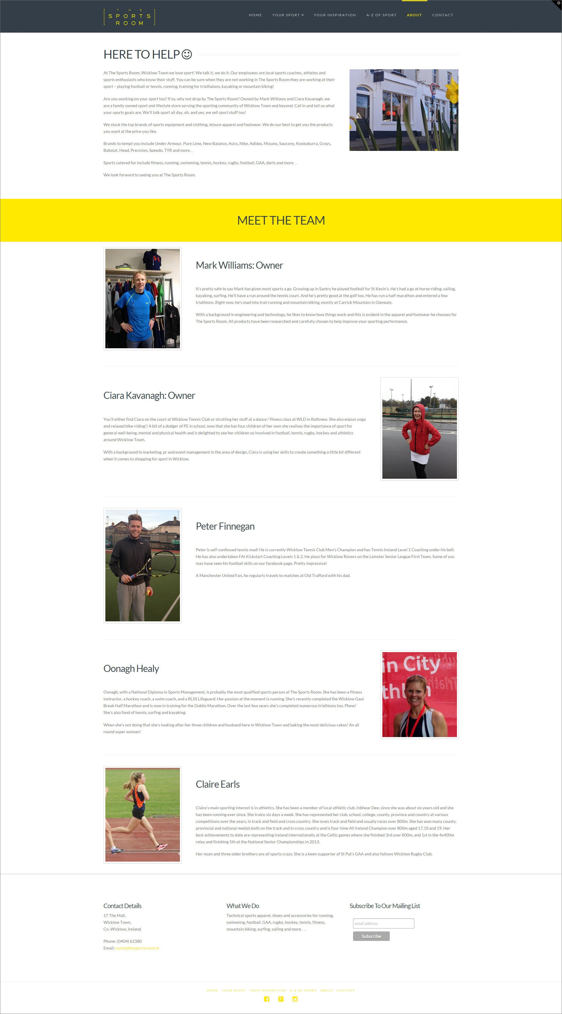 Website design for The Sports Room designed by Ridge Design About page visual