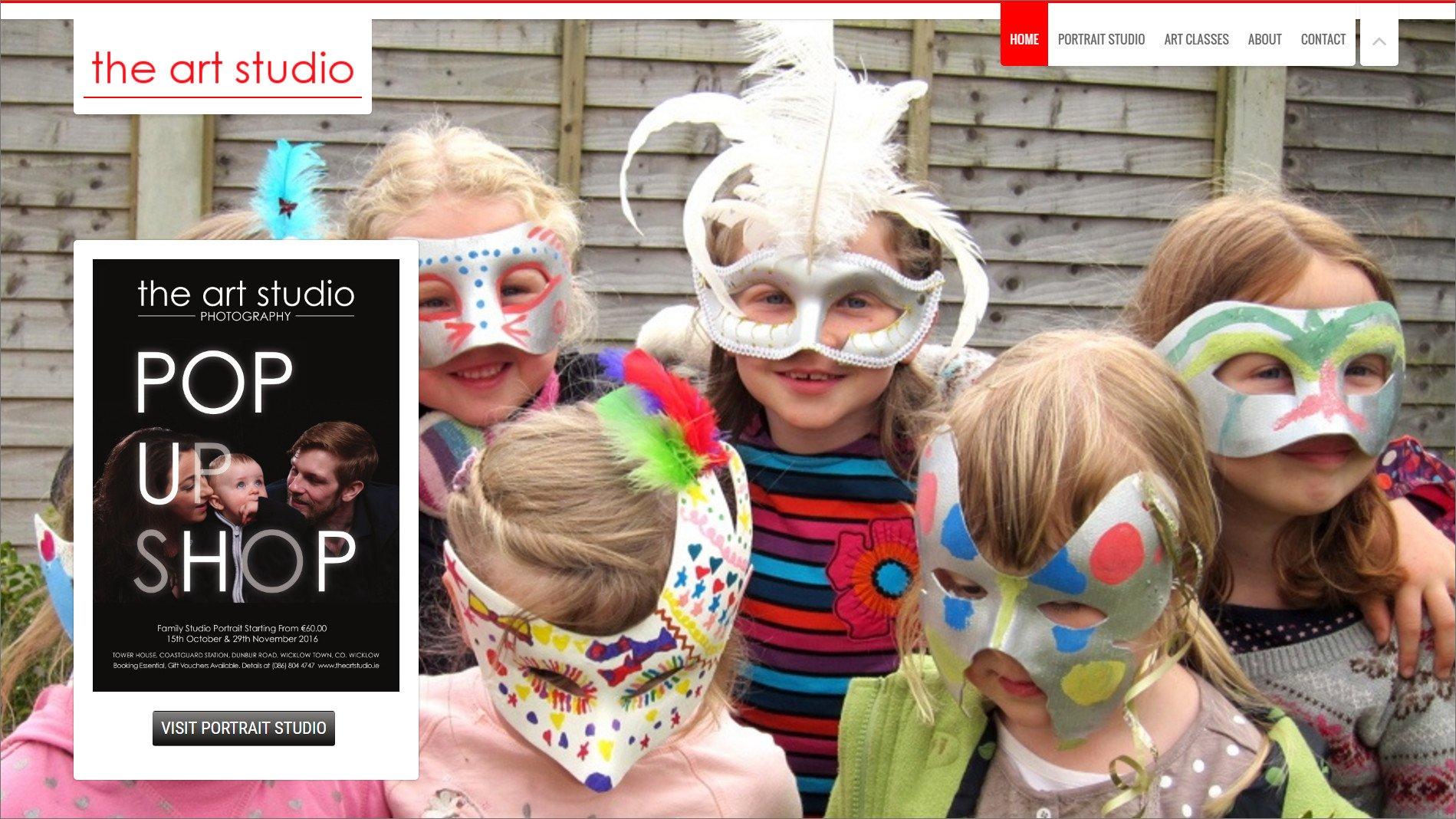 Website design for The Art Studio design by Ridge Design Home Page visual