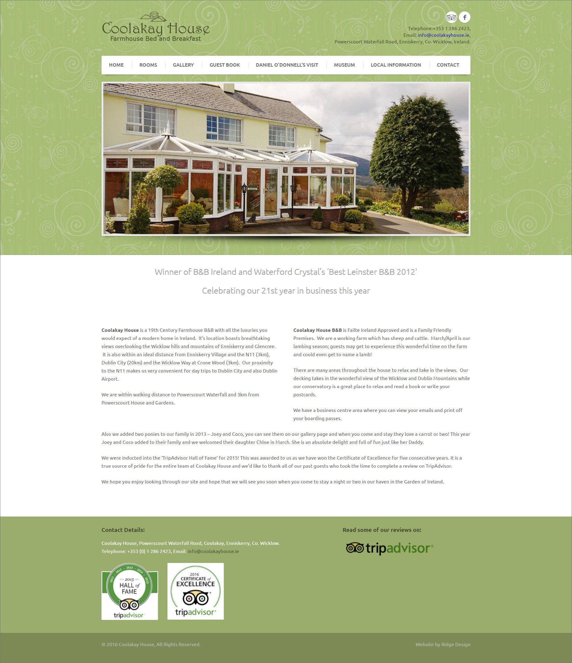 Website design for Coolakay House designed by Ridge Design Home page visual