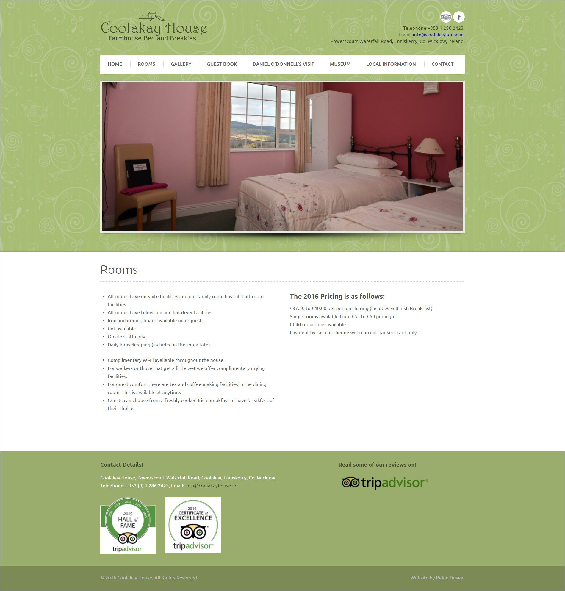 Website design for Coolakay House designed by Ridge Design Rooms page visual