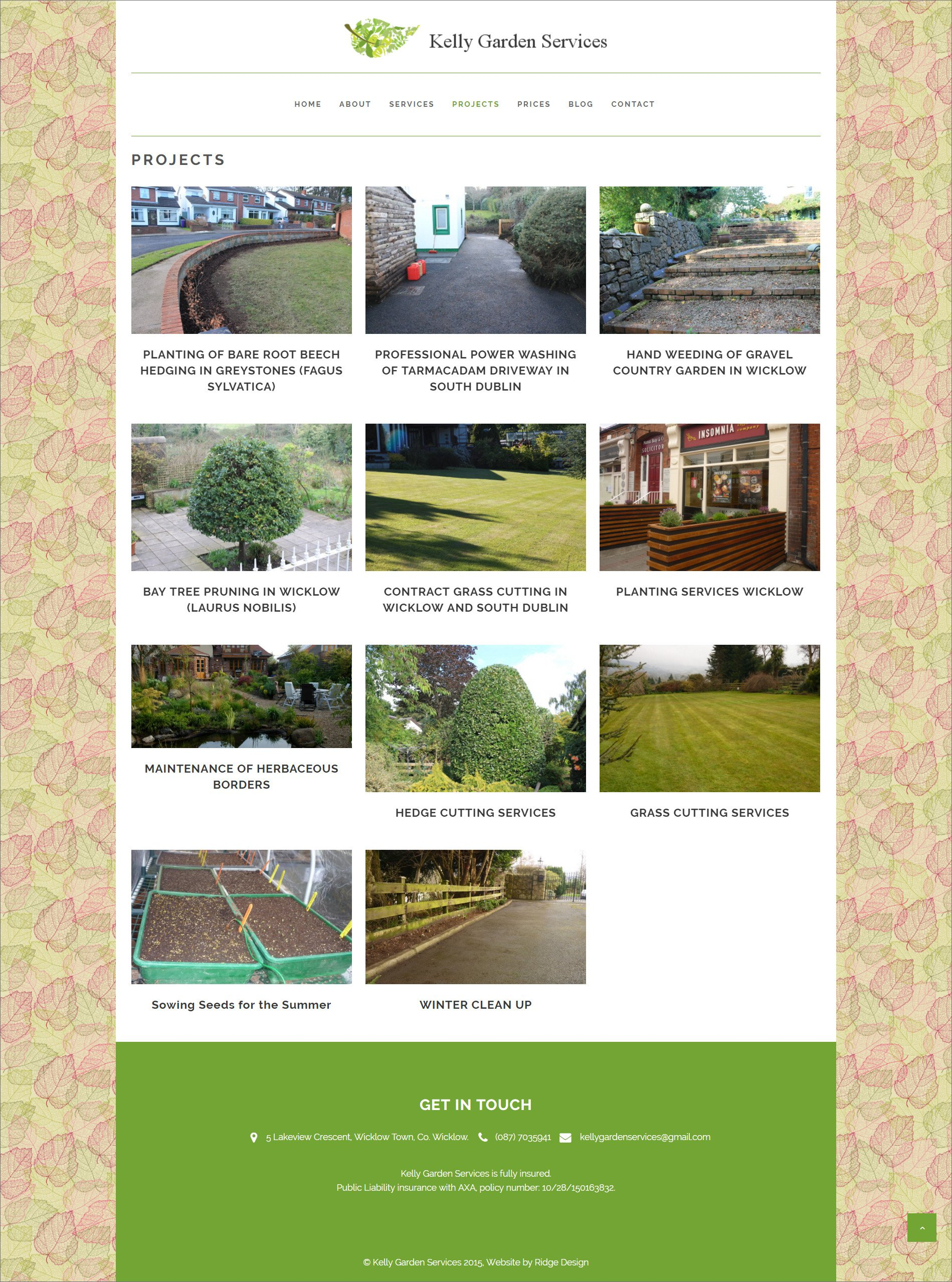Kelly Gardening Services website designed by Ridge Design visual of projects page