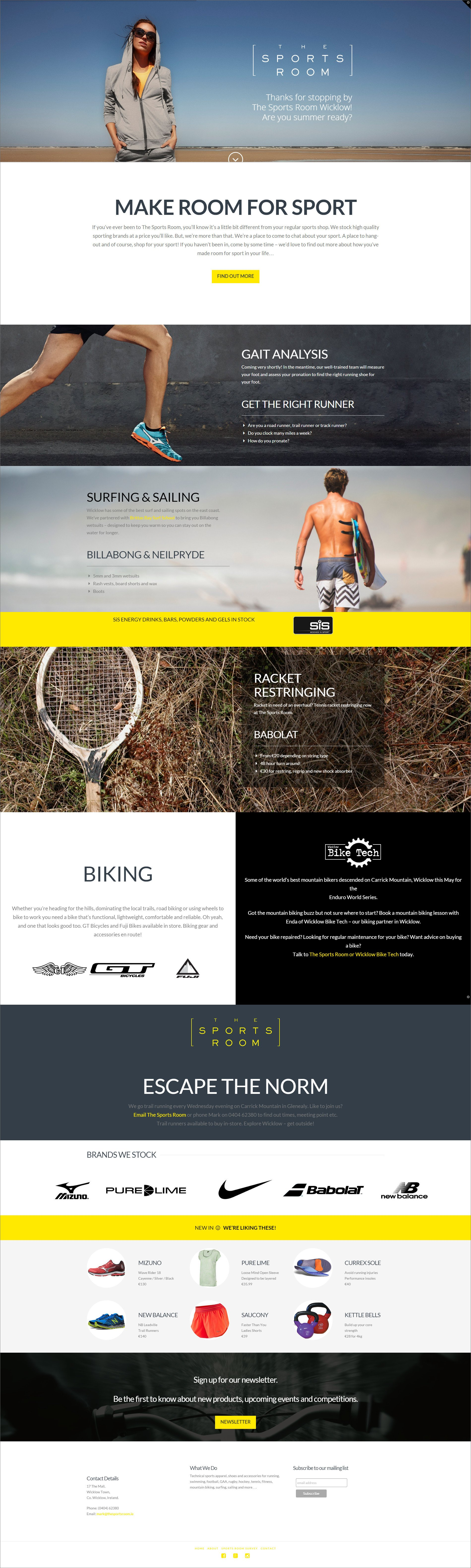 Website design for The Sports Room designed by Ridge Design Home page visual
