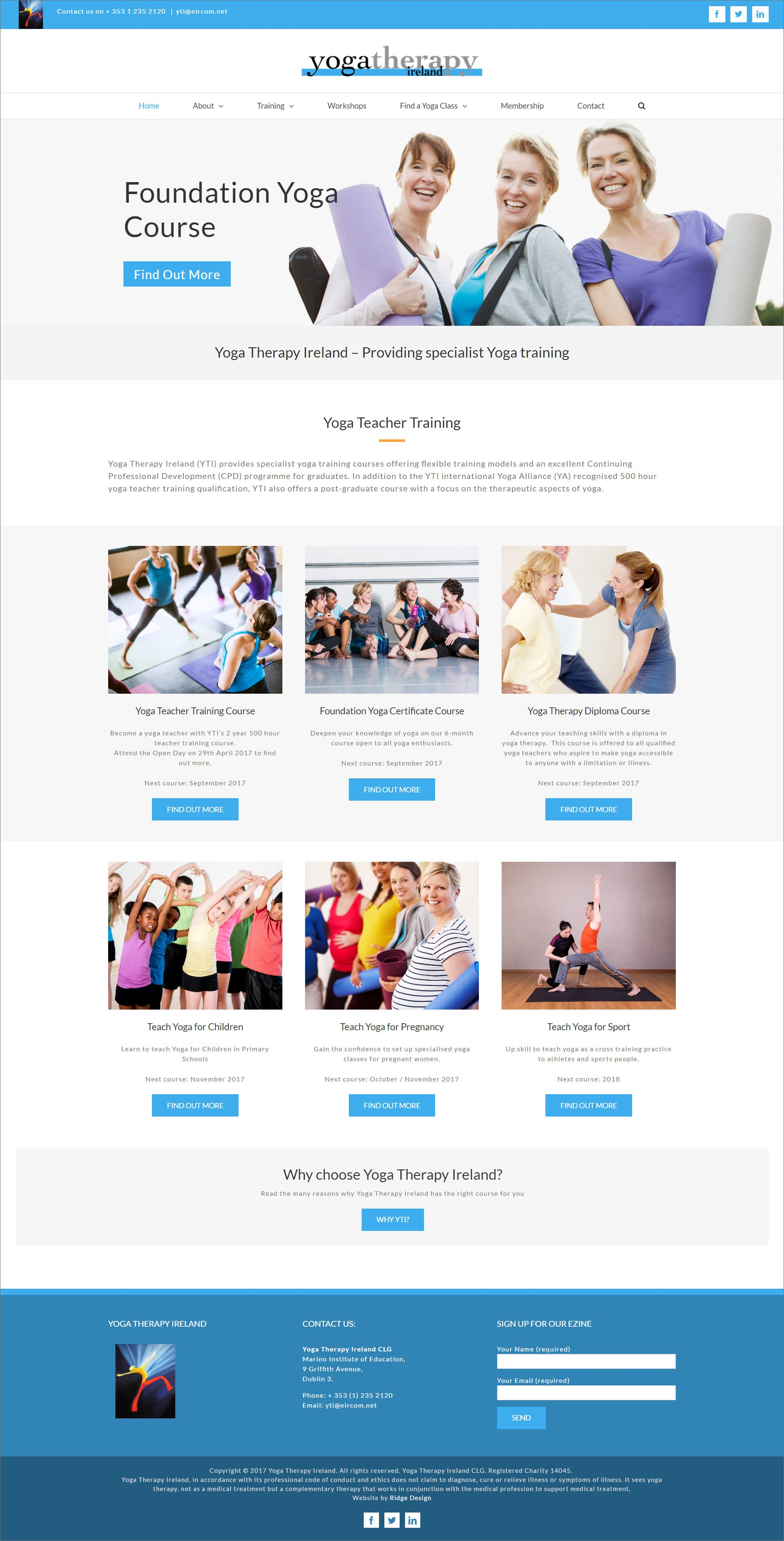 Website design for Yoga Therapy Ireland visual of home page